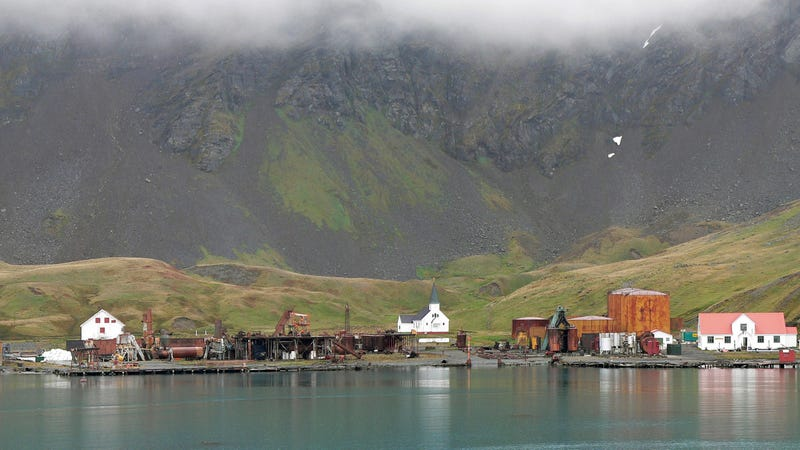 The mostly abandoned town of Grytviken on South Georgia island. Cropped from original panorama.