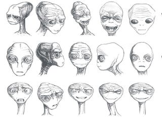 Illustration for article titled Previously Unseen E.T. Concept Art Reveals The Alien's Alternate Faces