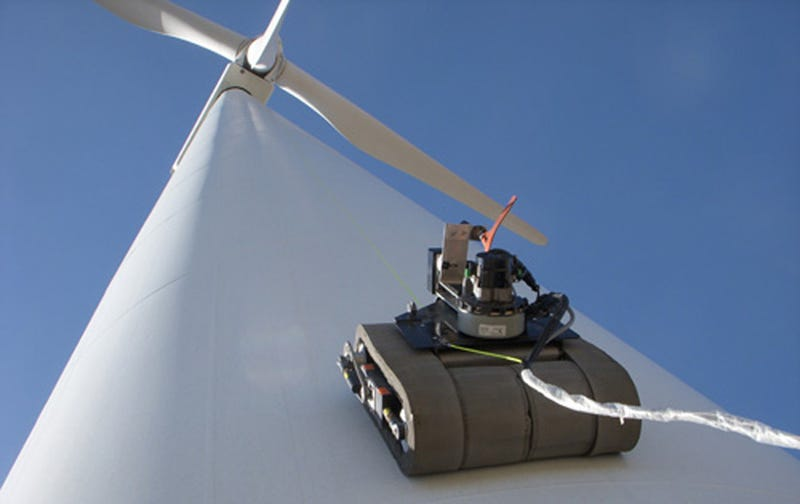 Illustration for article titled Inspector Robot Scales 300 Foot-Tall Wind Turbines