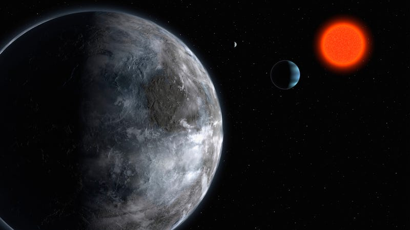 2007 artist's impression of the planetary system around the red dwarf Gliese 581, which shows what astronomers believed at that time was the most earth like planet found outside our solar system to date.