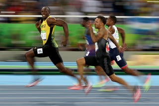 Usain Bolt of Jamaica as he races to victory in the men's 100-meter semifinal at the Rio de Janeiro Olympic Games on Aug. 14, 2016.Cameron Spencer/Getty Images