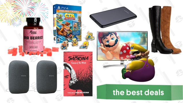 Thursday s Best Deals: LG 4K Monitor, Google Nest Audio 2-Pack, Crash Team Racing, Sunday Scaries CBD Gummies, Style & Co Dress Boots, Aukey Power Bank, and More