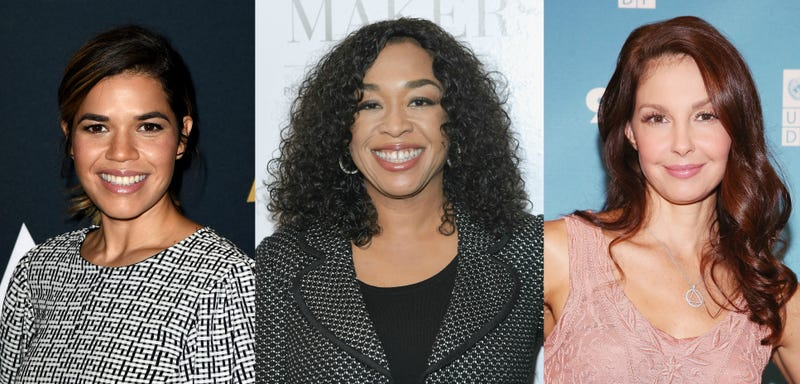 Three members of Time's Up, from left to right: America Ferrera, Shonda Rhimes, and Ashley Judd (Photos: Kevin Winter/Getty Images; Mike Coppola/Getty Images; Mireya Acierto/Getty Images)