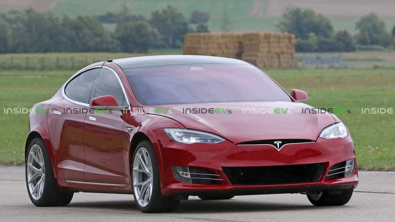 Illustration for article titled Three Motor Tesla with Fender Flares, Wider Tires, and Bigger Cooling Duct Spotted Outside the Nürburgring