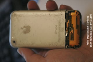 Illustration for article titled iPhone Vs. Semi: iPhone Laughs in the Face of Danger