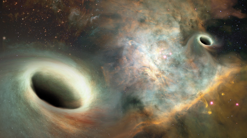 Press release art that doesn't at all accurately depict what orbiting black holes 24 light years away would look like but does look pretty nice (Image: Joshua Valenzuela/UNM)