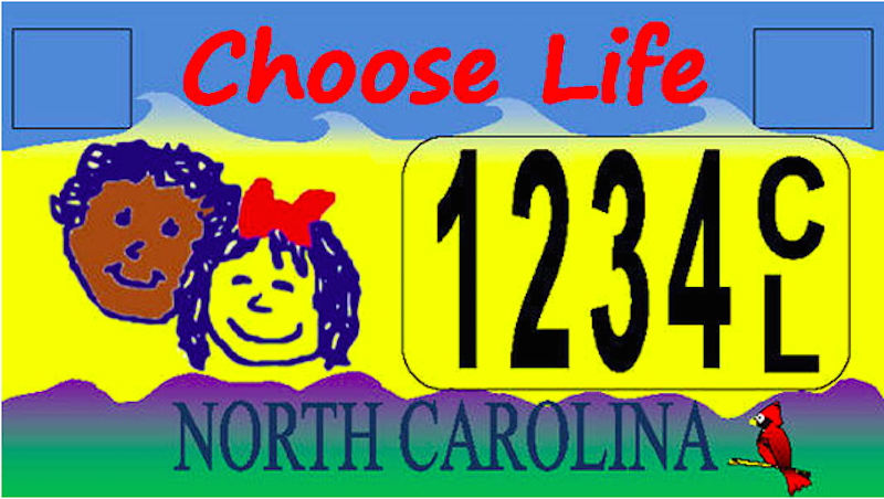 Illustration for article titled Thank Goodness North Carolinians Can Have This Hideous Anti-Abortion License Plate