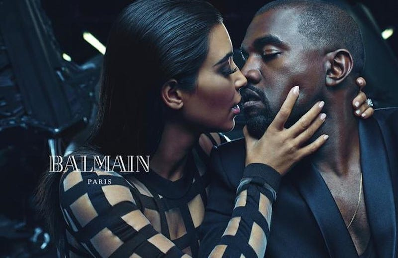 Illustration for article titled Caption This Ad for Balmain Featuring Kim Kardashian and Kanye West