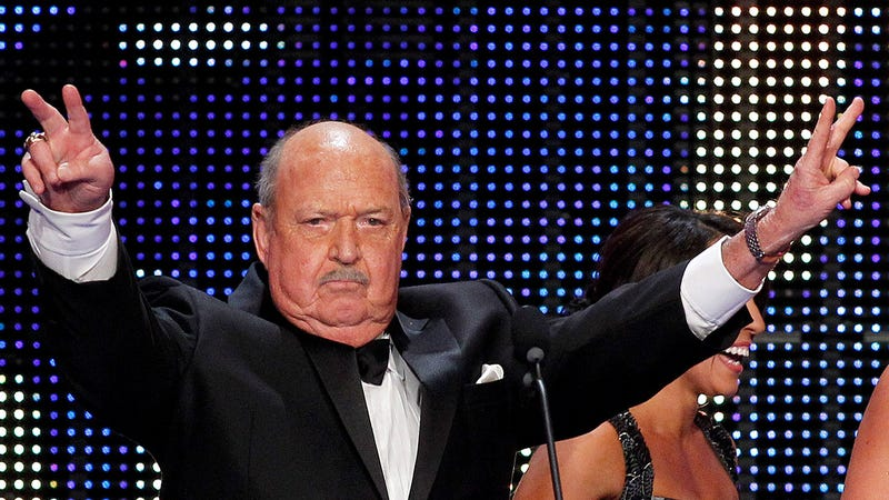 """Mean"" Gene Okerlund at the WWE Hall of Fame induction ceremony in 2014."