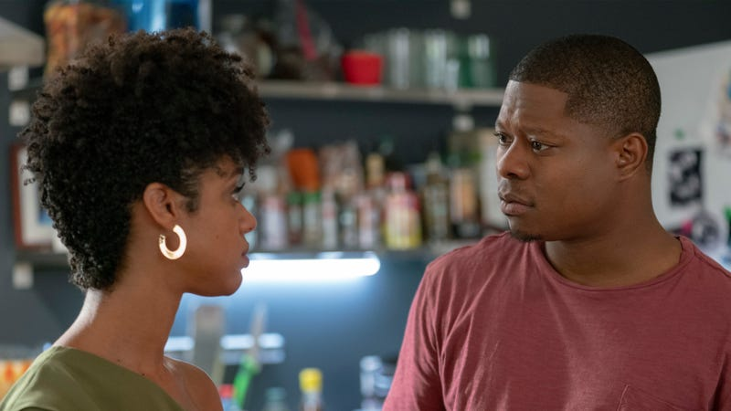 """Tiffany Boone as Jerrika and Jason Mitchell as Brandon in THE CHI (Season 2, Episode 07, """"Blind Eye"""")."""