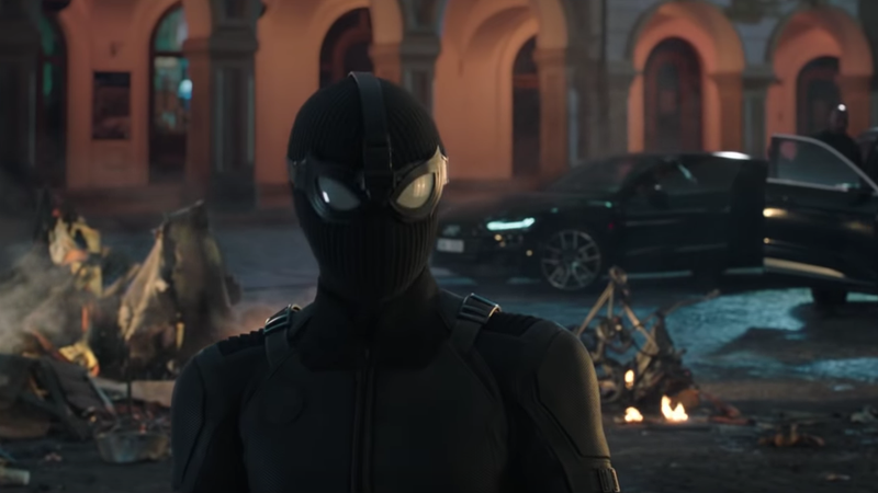 Spider-Man in his stealth suit.