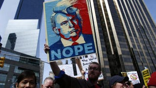 People rally as they take part in a protest against Republican presidential front-runner Donald Trump in New York City on March 19, 2016.KENA BETANCUR/AFP/Getty Images