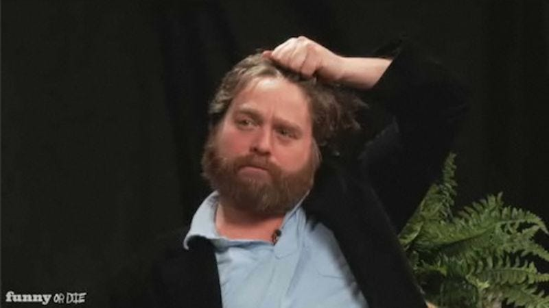 Illustration for article titled Zach Galifianakis' Between Two Ferns is coming to Comedy Central (for one night, anyway)