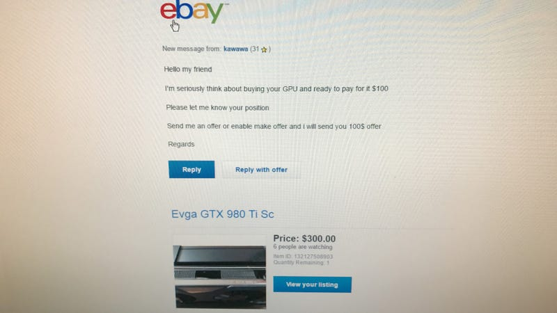 """Illustration for article titled Sometimes I """"just can't"""" with eBay buyers."""
