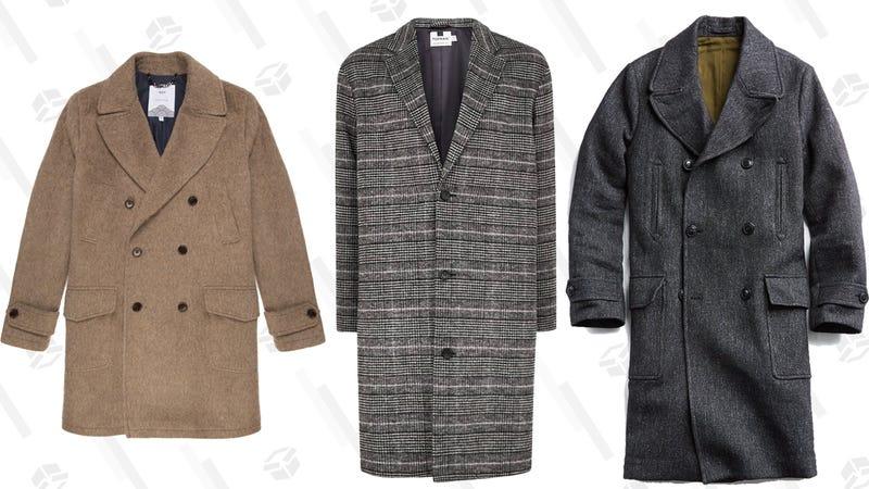 Elwin Mohair Coat | $200 | Wax London Topman Hayden Check Print Overcoat | $105 | NordstromItalian Wool Twill Officer Coat | $599 | Todd Snyder