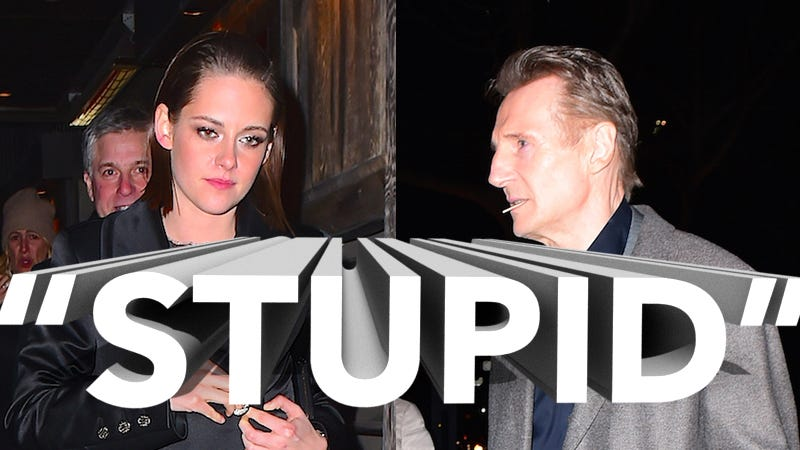Illustration for article titled Shockingly, Liam Neeson's Rep Says Claims He's Dating Kristen Stewart Are 'Stupid'