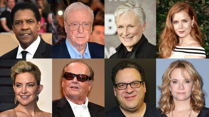 Denzel Washington, Michael Caine, Glenn Close, Amy Adams, Kate Hudson, Jack Nicholson, Jeff Garlin, and Lea Thompson.