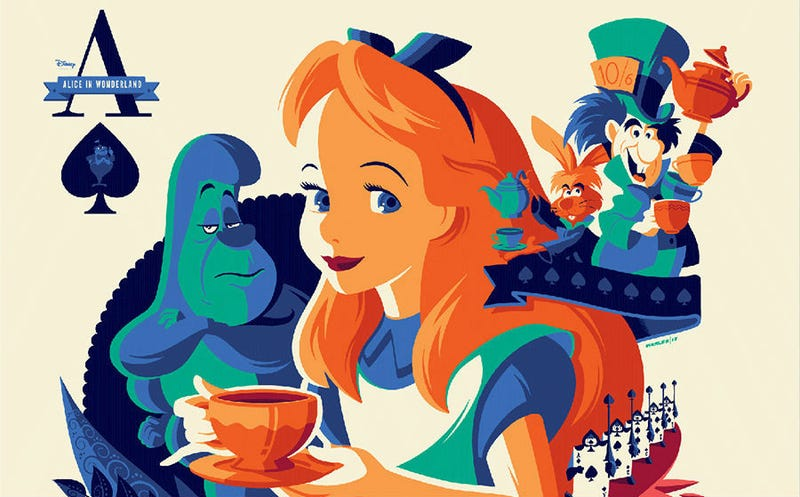 A new Alice in Wonderland poster by Tom Whalen for Never Grow Up: A Disney Art Show. All Images: Mondo/Cyclops