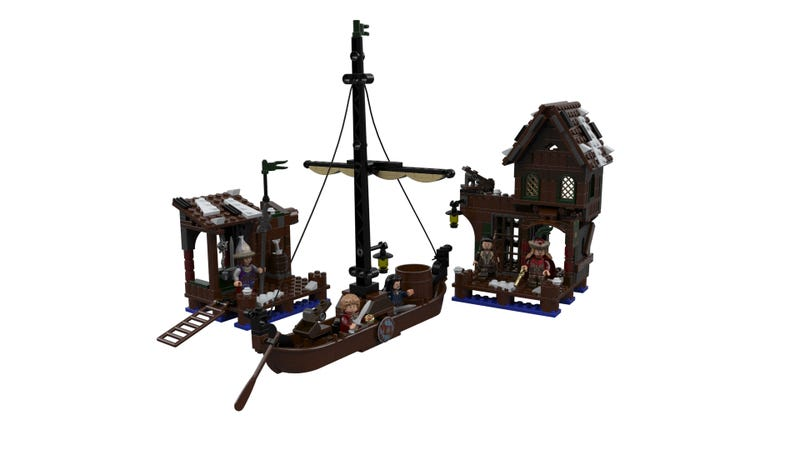 Illustration for article titled The first Desolation of Smaug Lego set is the Laketown Chase