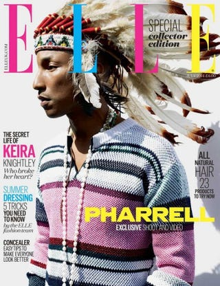 Pharrell Williams appearing on the cover of Elle UKElle UK