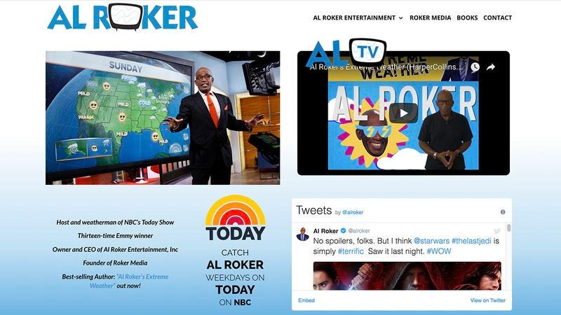 The alroker.com webpage
