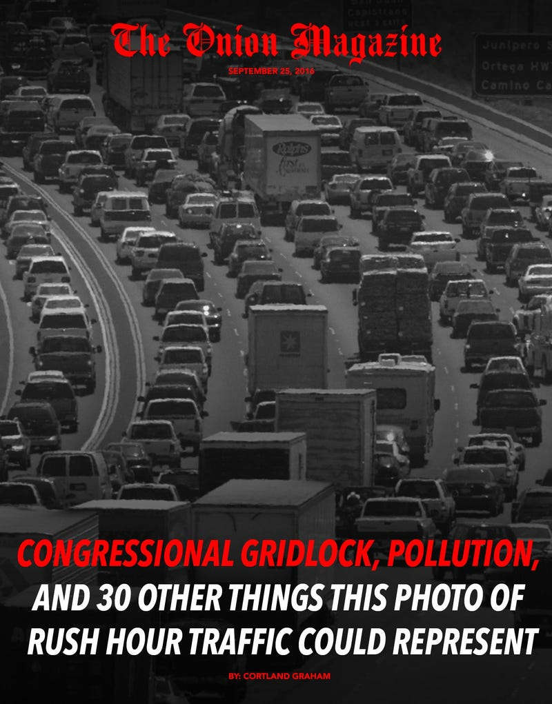 Illustration for article titled Congressional Gridlock, Pollution, And 30 Other Things This Photo Of Rush Hour Traffic Could Represent