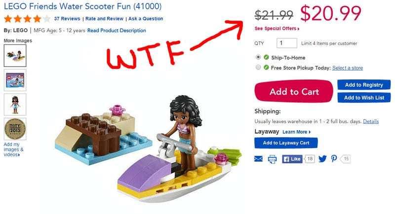 "Illustration for article titled Is the Toys""R""Us Lego mark-up ripping us off?"