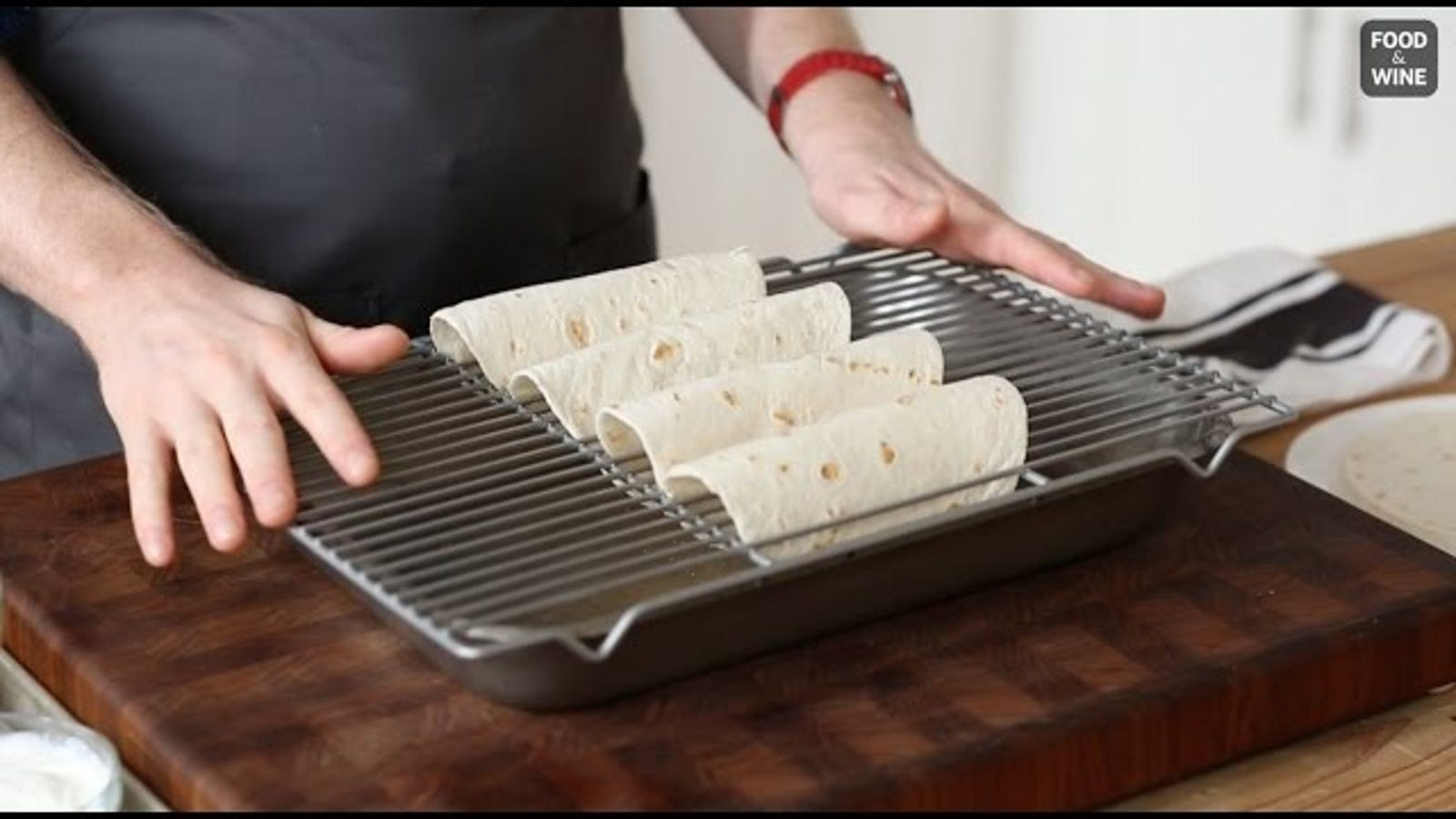 Use A Baking Rack To Turn Tortillas Into Crispy Taco Shells