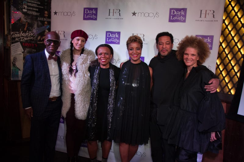 Dapper Dan, Veronica Webb, Teri Agins, Brandice Henderson, Dyne and Michaela angela Davis on Feb. 5, 2018 at Red Rooster of Harlem in New York City (courtesy of Harlem's Fashion Row)