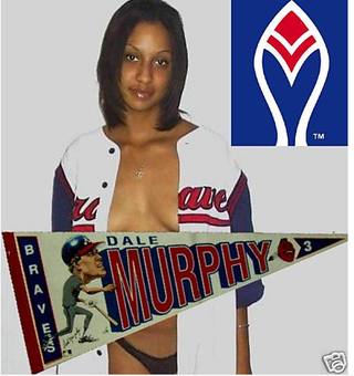 Illustration for article titled The One With The Half-Naked Woman Selling A Dale Murphy Pennant