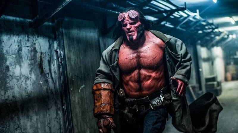What the hell is going on with Hellboy's abs here?