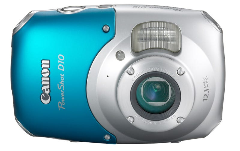 Illustration for article titled Canon D10 Water, Shock and Freeze Proof Camera Is Lovechild of Submarine and Bondi Blue iMac