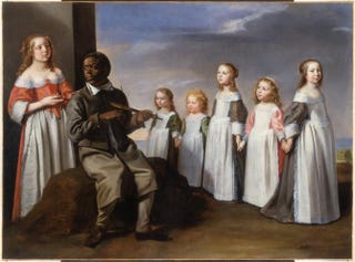 Attributed to Master of the Games, The Dance Lesson, circa 1650. Oil on canvas, 85 by 115 cm.The Menil Collection, Houston
