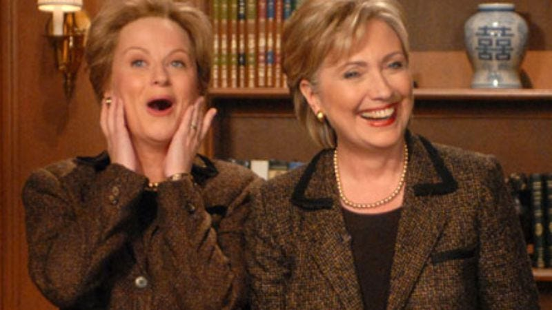 Hillary Clinton and Amy Poehler as Hillary Clinton on Saturday Night Live