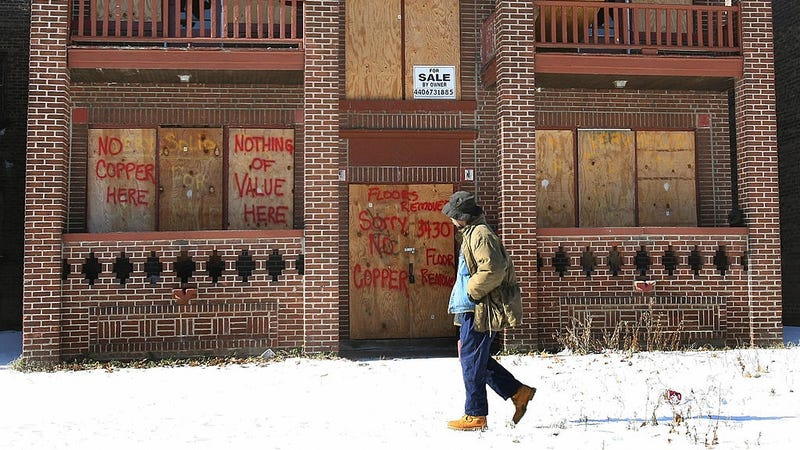 A boarded-up building in Cleveland, OH. Photo: Getty.