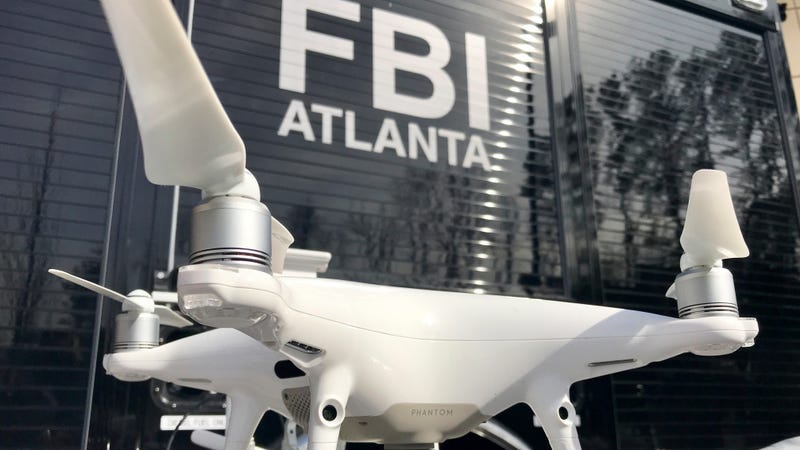One of a half-dozen drones which have been confiscated for being flown in the no-fly zone over Mercedes-Benz Stadium is displayed Friday, Feb. 1, 2019, in Atlanta.