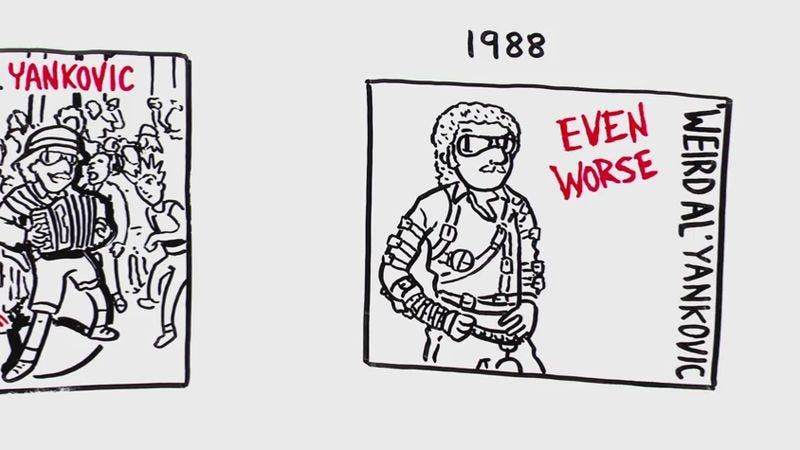 """Illustration for article titled Watch all 14 of """"Weird Al"""" Yankovic's album covers get animated on a whiteboard"""