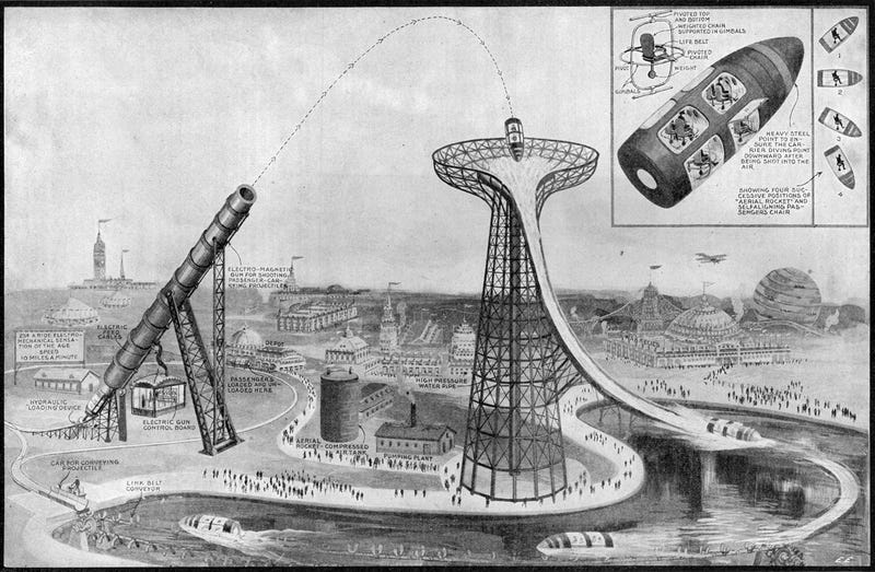 Illustration for article titled We Should Crowdfund This Insane Amusement Park Ride From 1919