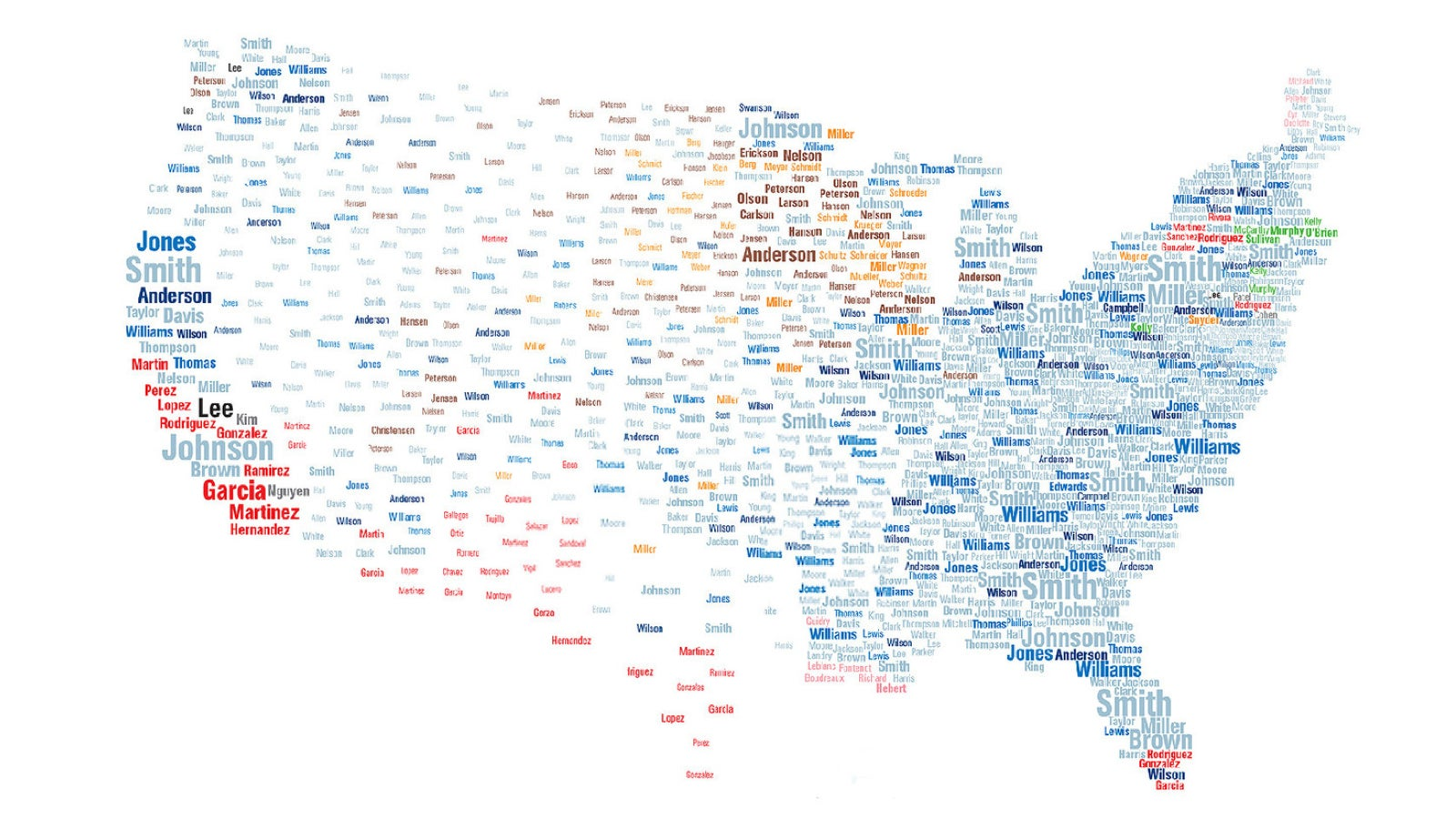 Interactive map reveals the most common surnames in the US