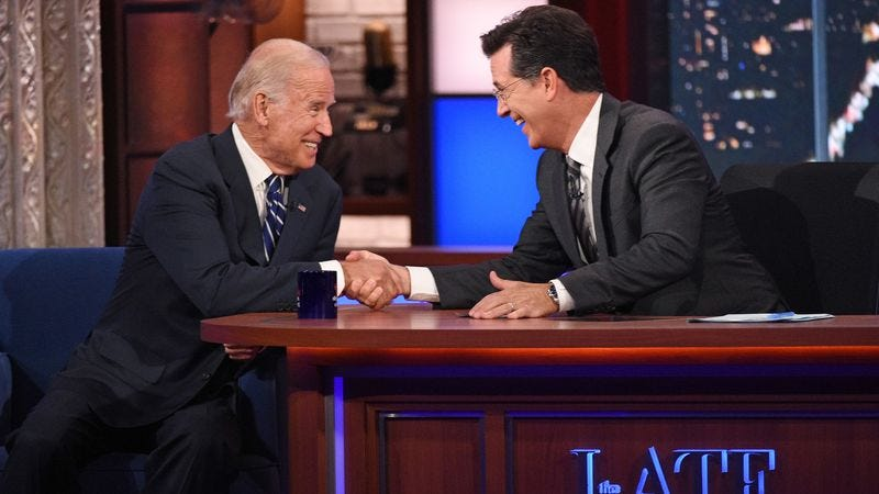 Illustration for article titled UPDATED: The real Joe Biden found the real Stephen Colbert on last night's Late Show