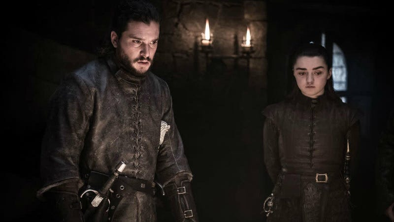 Jon and Arya looking at...something, possibly preparing for...something.