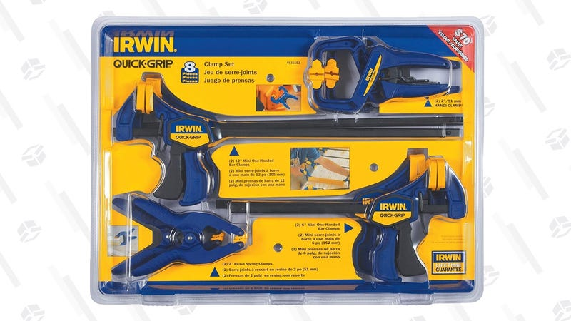 Irwin Quick Grip 8-Piece Clamp Set | $27 | Amazon