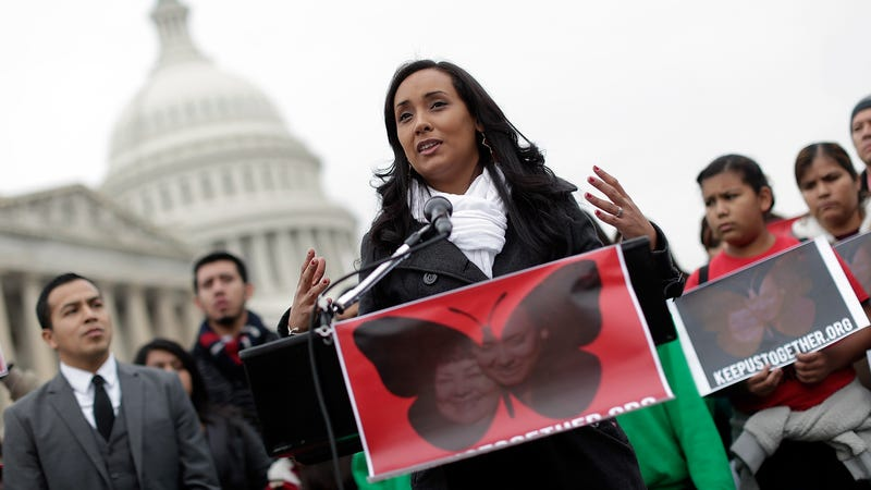 Erika Andiola speaking at a press conference held by the Dream Action Coalition on immigration reform December 4, 2013. Image via Getty.