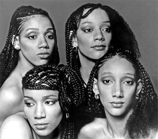 Clockwise from top left: Sister Sledge's Joni Sledge, Kim Sledge, Debbie Sledge and Kathy Sledge, circa 1977 (Michael Ochs Archives/Getty Images)