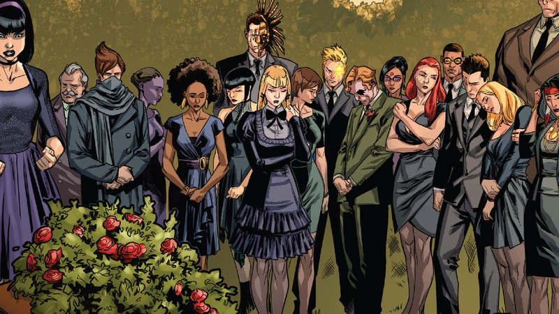 The X-Men paying their respects at a funeral.