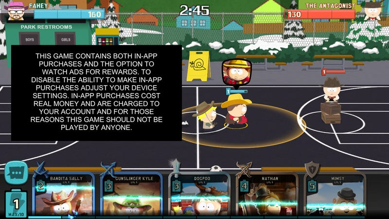 Illustration for article titled The South Park Mobile Game Warns You About Its Own Microtransactions