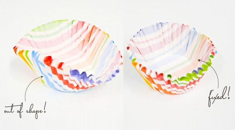 Illustration for article titled Reshape Bent Cupcake Liners with Round Cutters