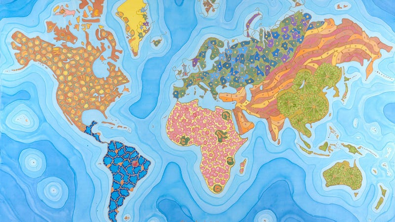 Beautiful Map Of The World.This Beautiful Map Is Made Up Of Microscopic Cells