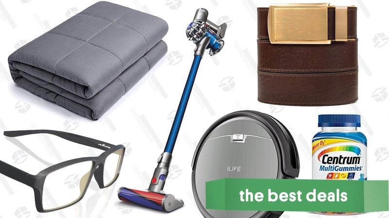 Illustration for article titled Thursday's Best Deals: Dyson Outlet, Weighted Blankets, Ratchet Belts, and More