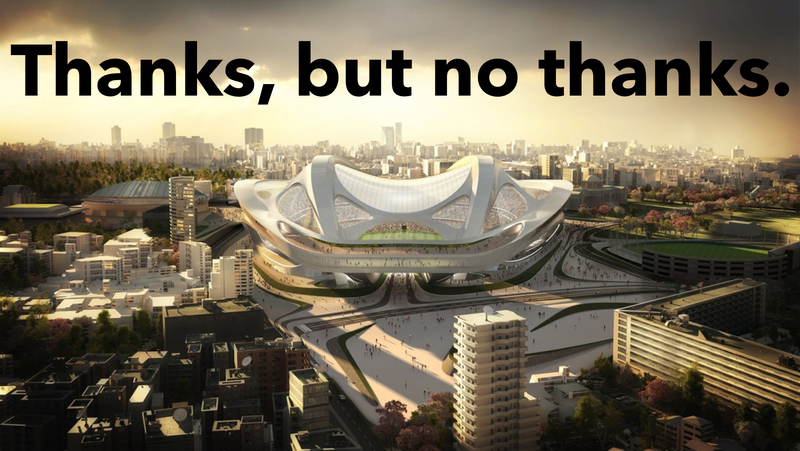 Illustration for article titled Japan Just Cancelled Its Outrageously Expensive Olympic Stadium Design